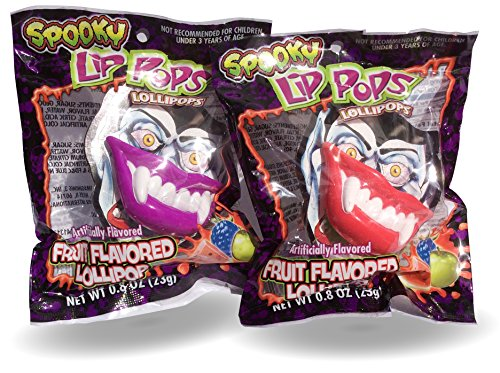 Spooky Lip Lollipop Suckers Wear As A Costume Accessory Double Pack 23g -
