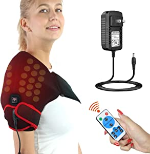 ELEKHEAL Jade Shoulder Heating Pad W/Remote Control, Auto Shut Off Far Infrared Heated Brace Wrap Support for Rotator Cuff Dislocation Joint Tendon Muscle Injury Arthritis Pain Relief