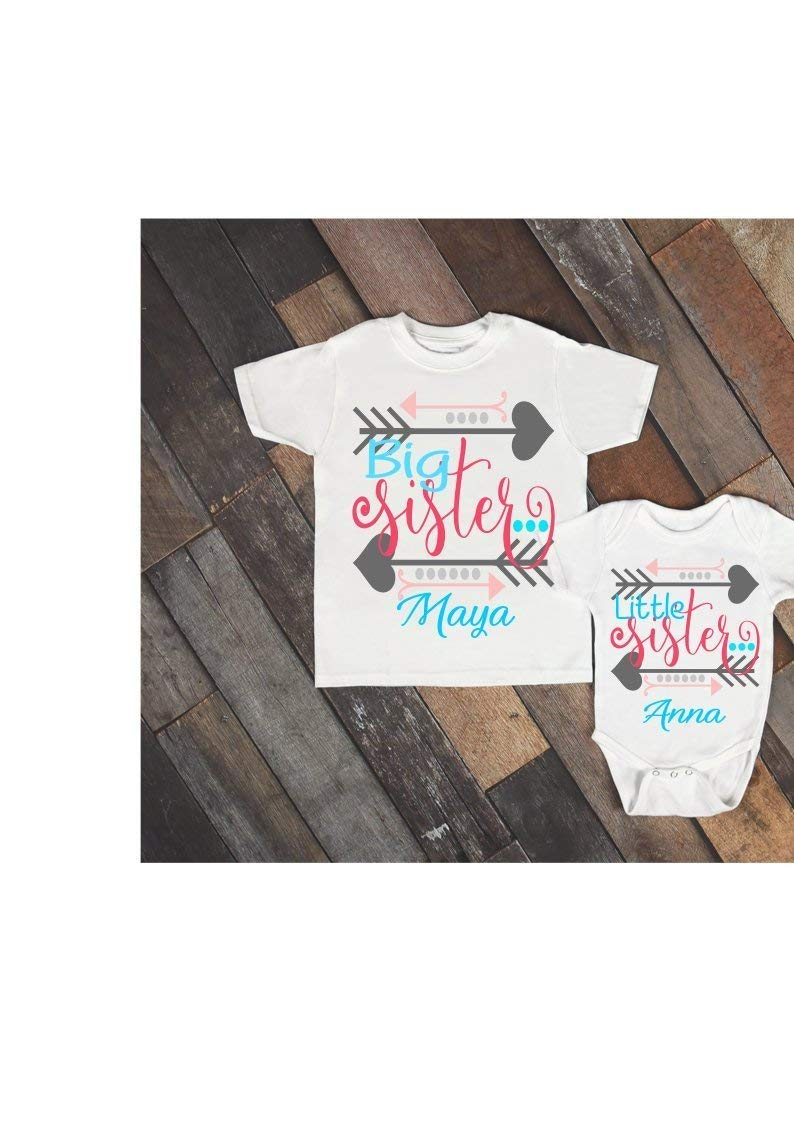 Big sister/little sister/T-shirt baby bodysuit set/Sibling set/Baby announcement/New baby/New big sister