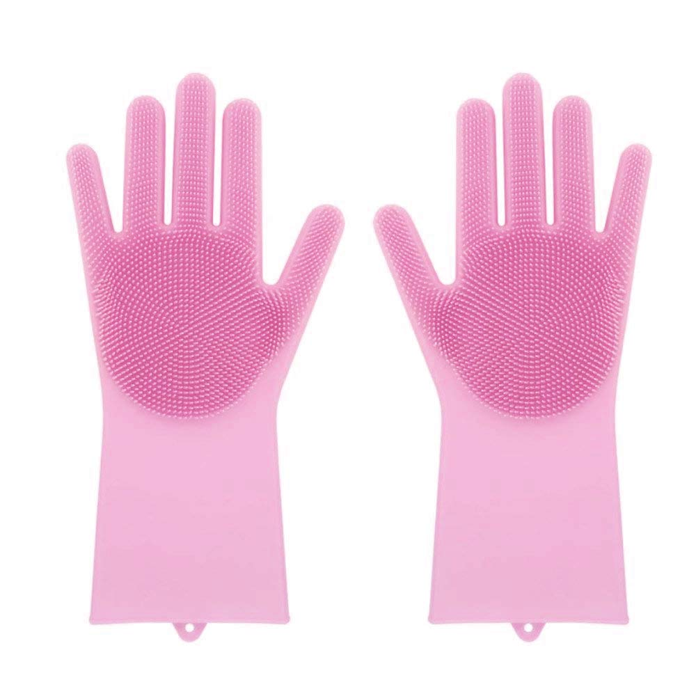 Sandistore Magic Saksak Reusable Silicone Gloves with Wash Scrubber (35.7x16.5cm), Heat Resistant, for Cleaning, Household, Dish Washing, Washing the Car Pink
