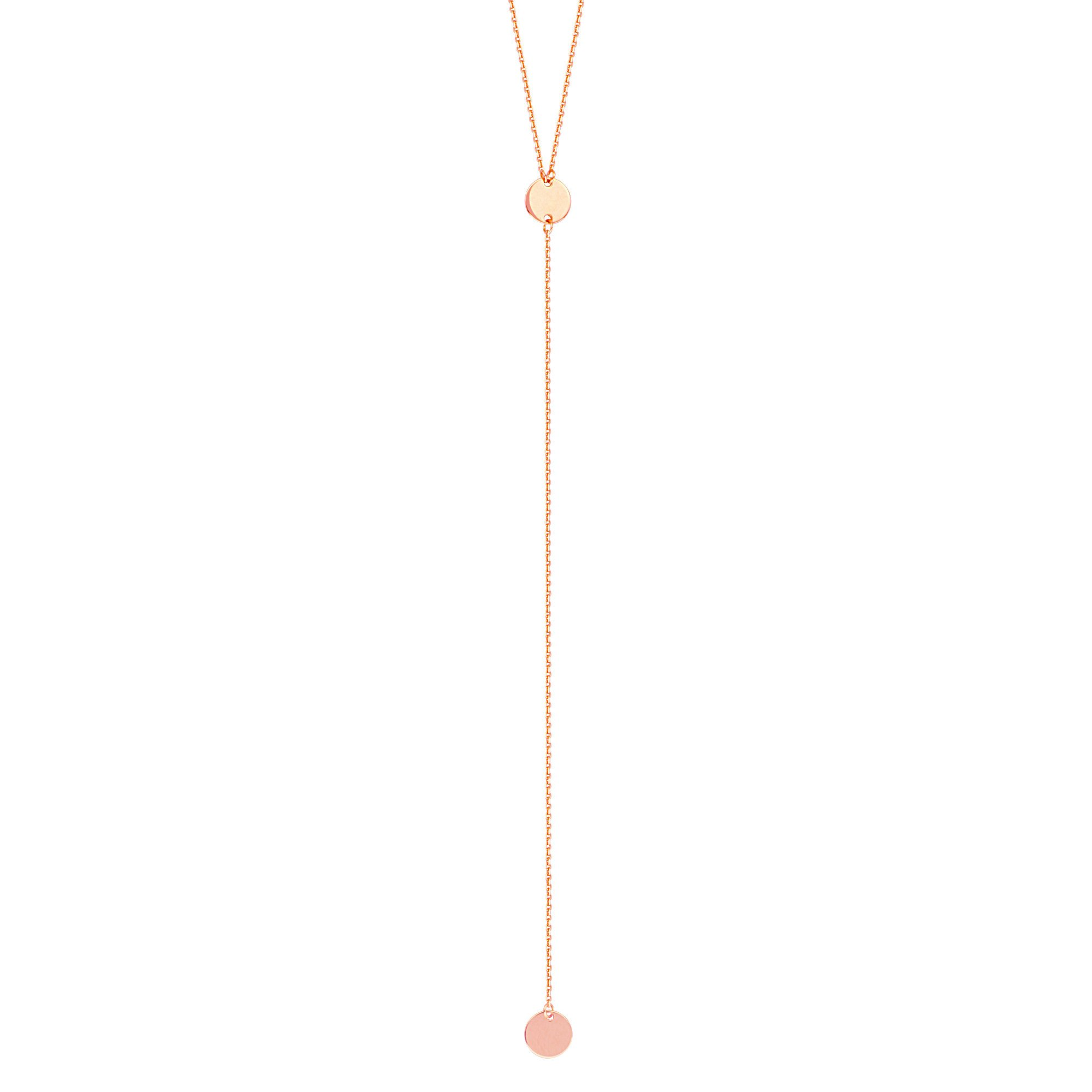 Hawley Street Y-style Lariat Necklace with Disks 14k Rose Gold by AzureBella Jewelry
