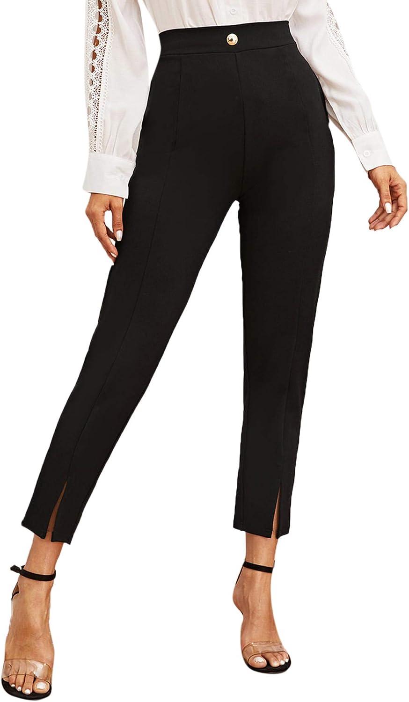 60s – 70s Pants, Jeans, Hippie, Bell Bottoms, Jumpsuits SweatyRocks Womens Elegant Elastic Waist Skinny High Waist Pants $21.99 AT vintagedancer.com