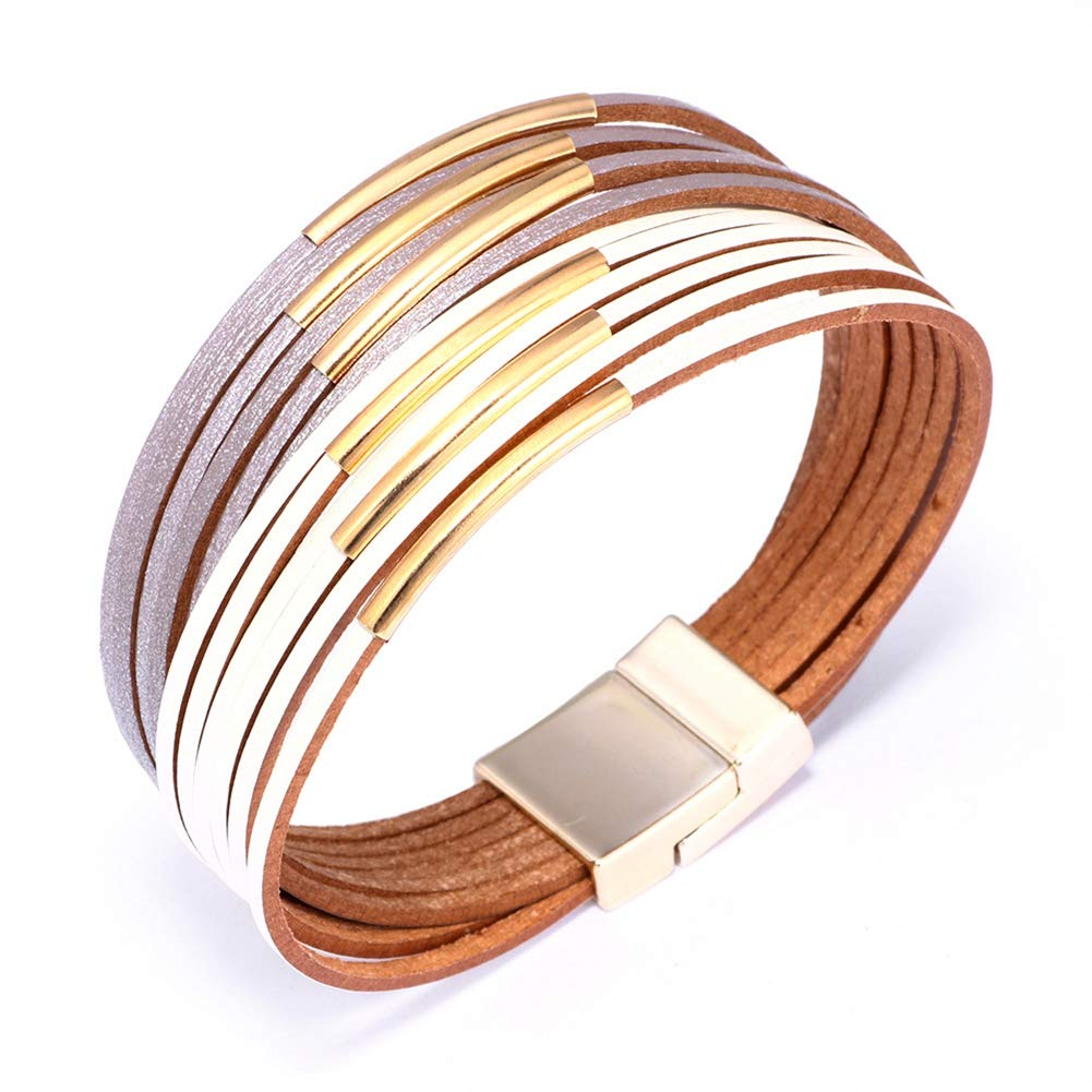 INMOFN Womens Girls Color Multi-Layer Wrist-Band Alloy Tube Wide Cuff Bangle Bracelet with Magnetic Clasp