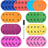 Blulu 36 Pieces Colored Closet Size Dividers Round Clothing Rack Dividers with 1 Marker Pen, Blank and Size (XXS to XXXL)