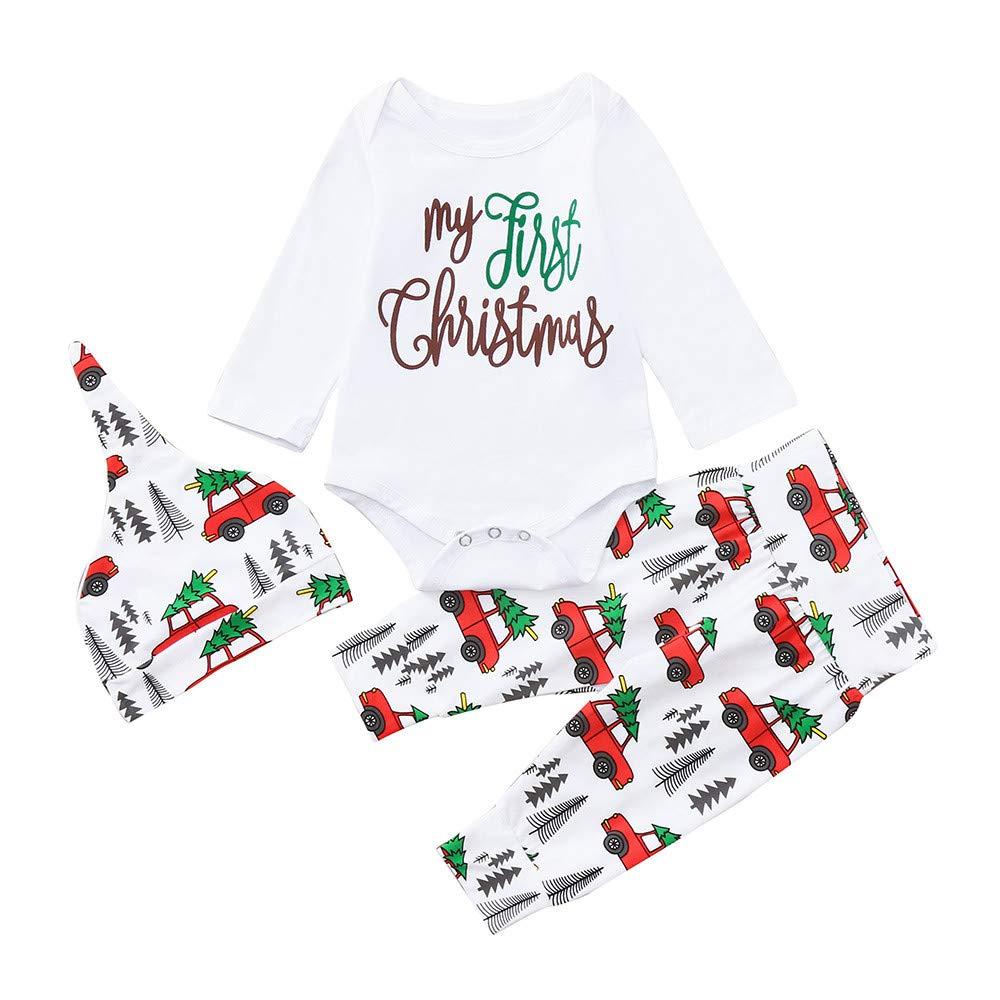 Ropa De Bebe, Ropa Bebe Recien Nacido, Infant Baby Boys Girls Cartoon Letter Print Navidad Xmas Mameluco Pantalones Trajes YOYOGO