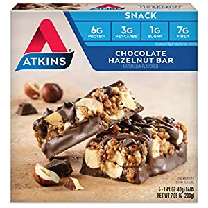 Atkins Snack Bar, Chocolate Hazelnut, 5 Count