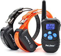 Petrainer 100% Waterproof and Rechargeable Dog Shock Collar 330 yd Remote Dog Training Collar with Beep/Vibrating/Shock Electric E-collar
