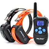 Petrainer PET998DBB 100% Waterproof and Rechargeable Dog Shock Collar 330 yd Remote Dog Training Collar with Beep/Vibrating/Shock Electric E-collar
