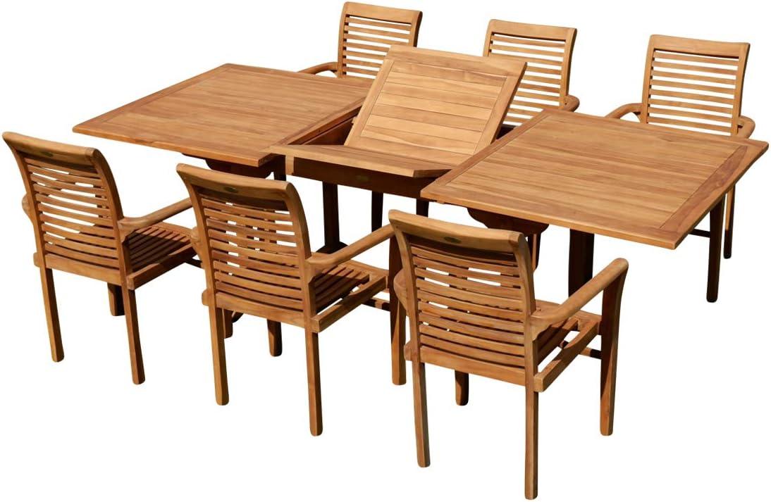 ASS Tobago - Conjunto de mesa y sillas de jardín (mesa extensible 180-240 cm x 100 cm, con 6 sillones Alpes)