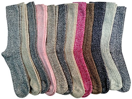 - Value Pack of excell Women's Merino Wool Socks, Heavy Comfort Knit Ribbed Hiking Sock (12 Pack Assorted)