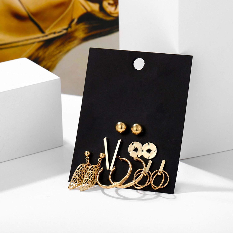 Geometric Stud Earrings Set For Women Girls Metal Elephant Moon Letter Earring Handmade Female Jewelry