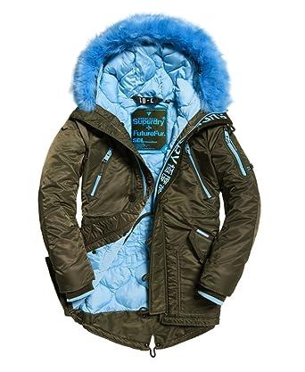 size 40 52d47 df136 Superdry Damen Parka SD-L Olive Blue