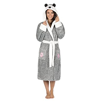 6379424d6c Forever Dreaming Ladies Novelty Animal Dressing Gown - Snuggle Fleece Hooded  Luxury Robe Black L