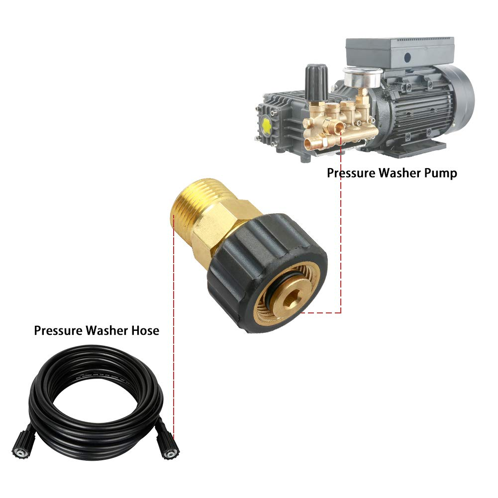 4500 PSI 3//8 Inch Female Pipe Thread X 3//8 Inch Male Quick Connect Plug Pressure Washer Coupler Metric M22-15mm Male Thread to M22-14mm Female Fitting Sooprinse High Pressure Washer Adapter Set
