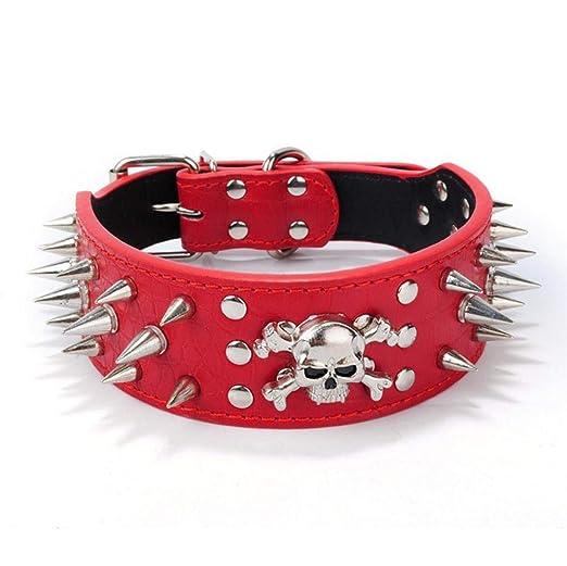 Daeou Collar de Perro Cabeza del PU cráneo de uñas Anti-penetrante círculo de Perro Grande: Amazon.es: Productos para mascotas