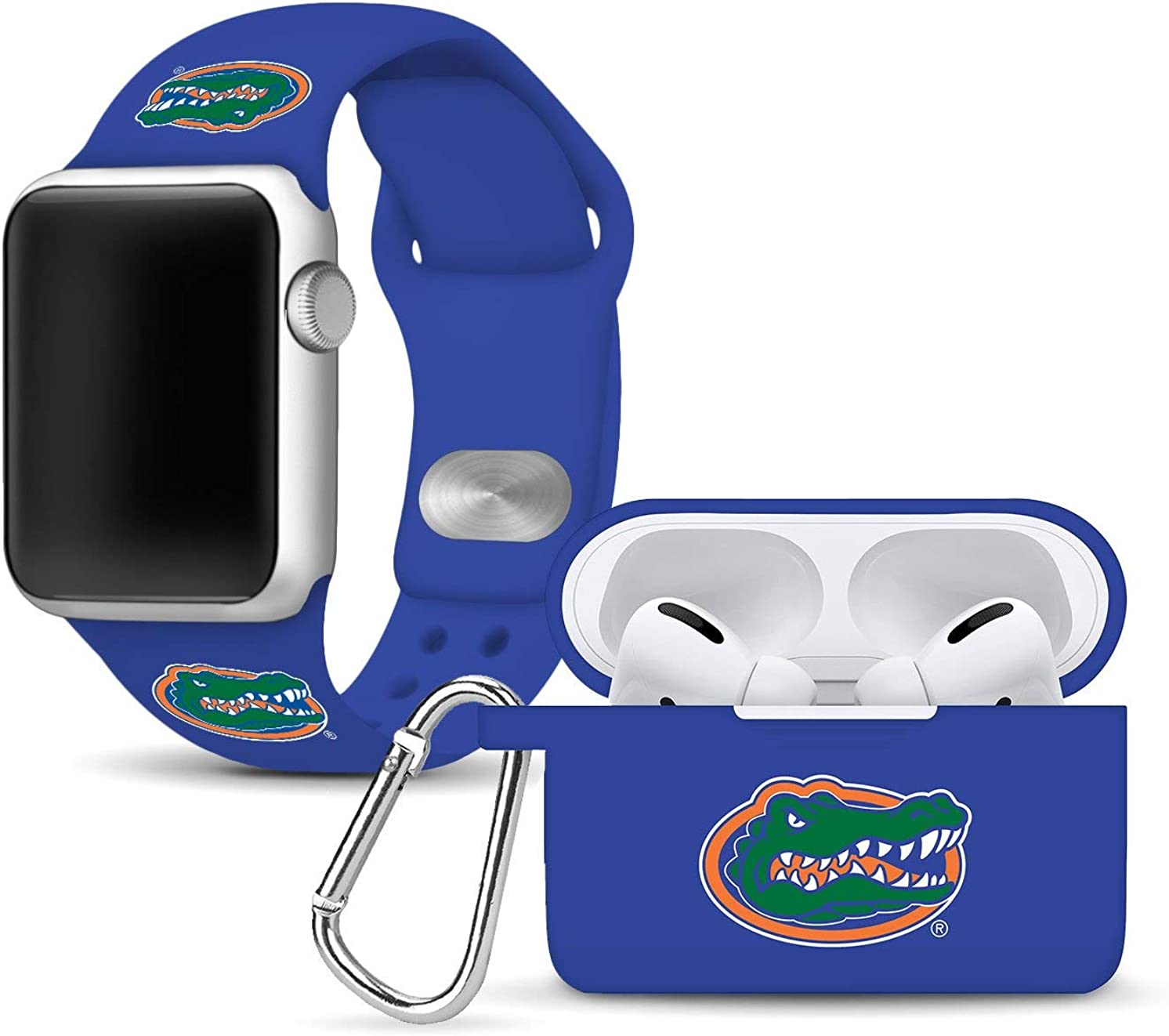Florida Gators Silicone Watch Band and Case Cover Combo Package Compatible with Apple Watch and AirPods Pro Battery Case