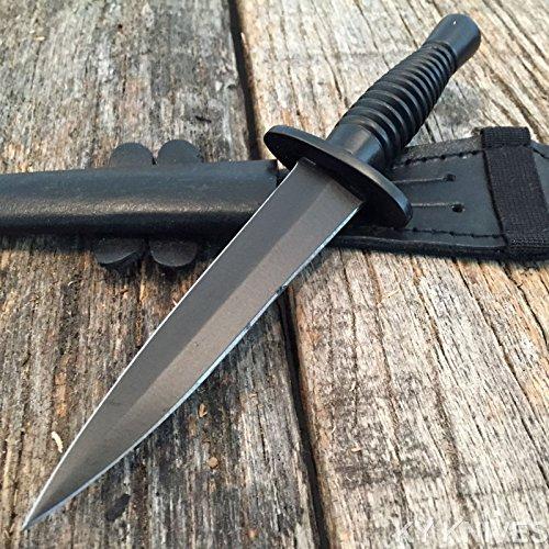 BRITISH Commando G'Store Dagger Black Tactical Hunting Knife Leather (Commando Dagger)