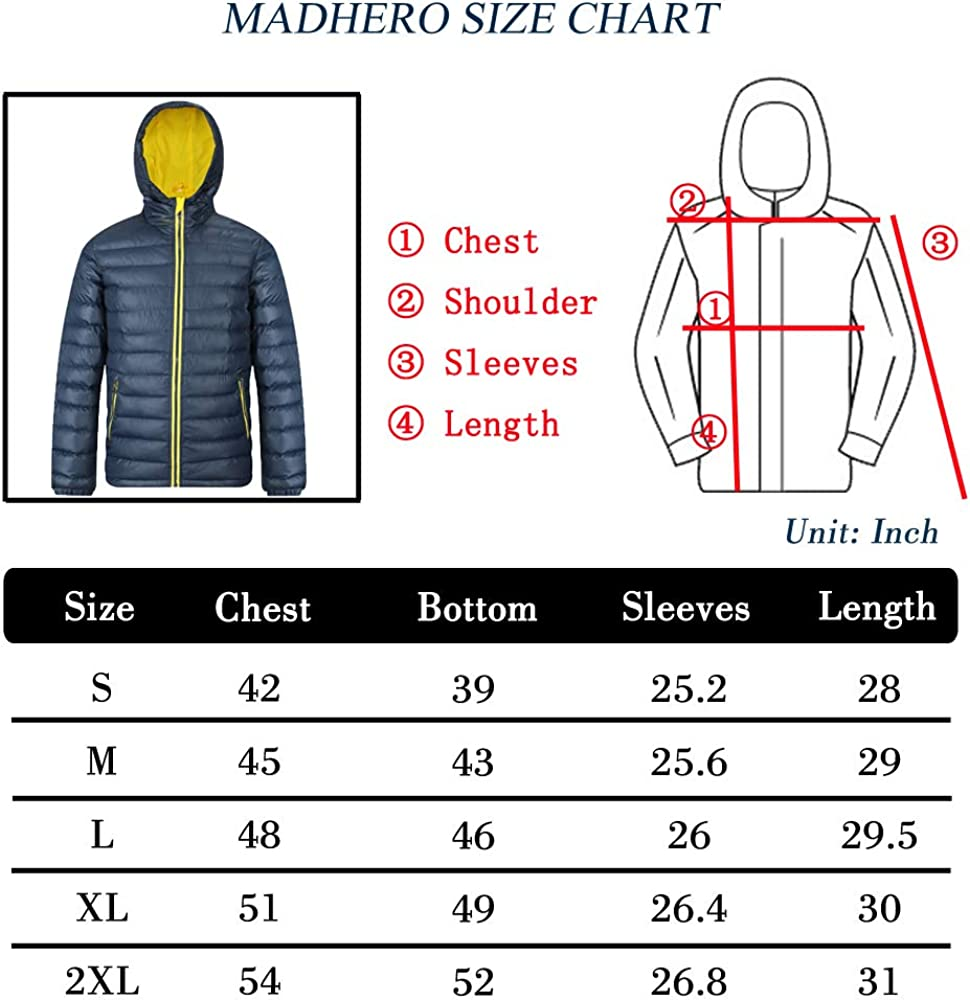 MADHERO Mens Puffer Jacket Water-Resistant Insulated Down Alternative Outerwear Coats
