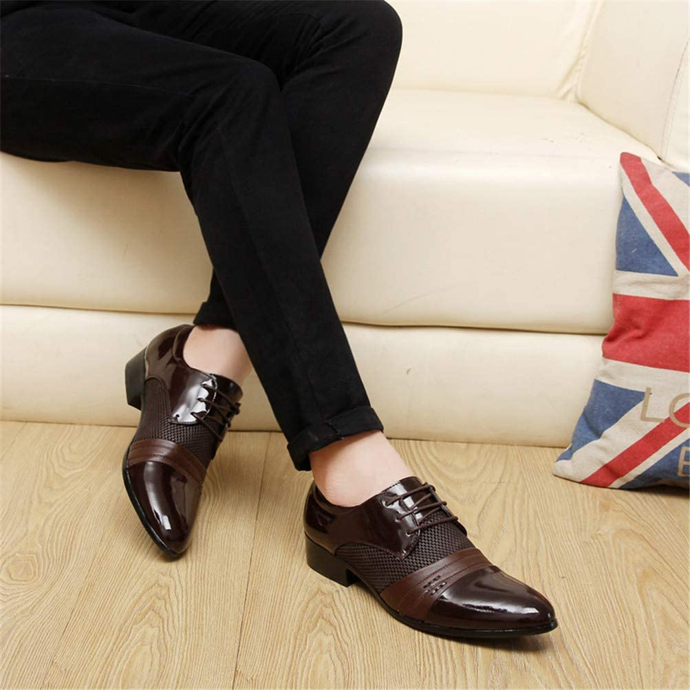 Oxford Shoes Men PU Leather Business Flat Shoes Breathable Banquet Wedding Shoes