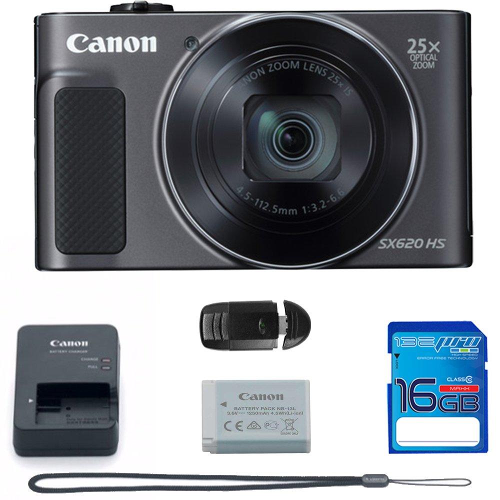 Canon PowerShot SX620 HS Digital Camera (Black) + Deal-Expo Bundle.