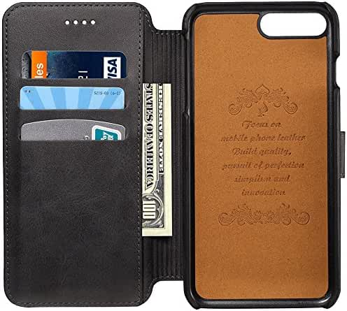 Samsung Galaxy S8/S8 Plus Case Genuine Leather Wallet Phone Case Flip Folio Kickstand