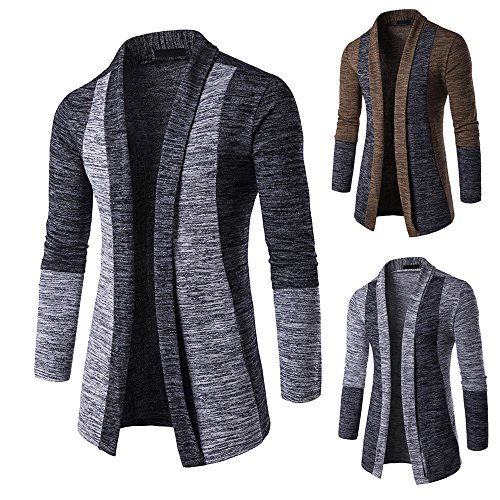 Knitwear Long Shirt Trench Cardigan Sleeve Jumpers HARRYSTORE Long Mens Coat Knitted Open Fit Outwear Cardigan Front Gray Knitted Slim OYgxqCpx