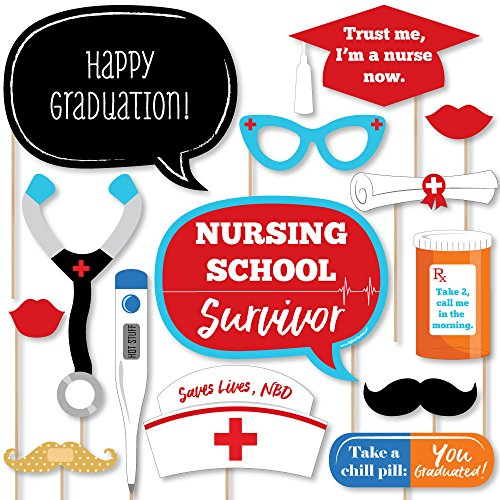 Big Dot of Happiness Nurse Graduation - Medical Nursing Graduation Photo Booth Props Kit - 20 Count by Big Dot of Happiness