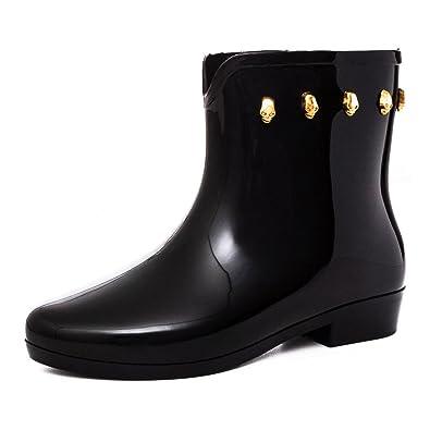 ff9cf789403f2 Damen Regen Gummistiefel Schlupf Stiefel Garten Boots Schuhe mit Totenkopf  Nieten Schwarz 41