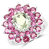 Johareez Green Amethyst & Rhodolite Garnet Flower Ring in Sterling Silver