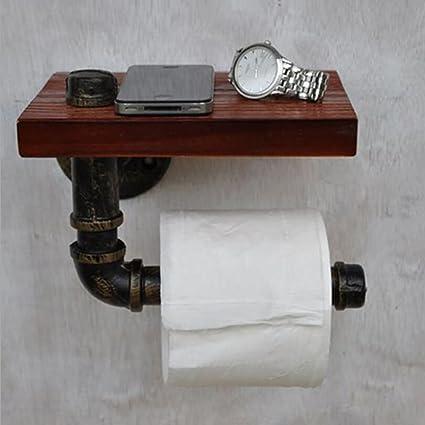FEN Iron Art Toilet Paper Holder Bathroom Home Wood Toilet Roll Holder  Storage Rack Retro Phone
