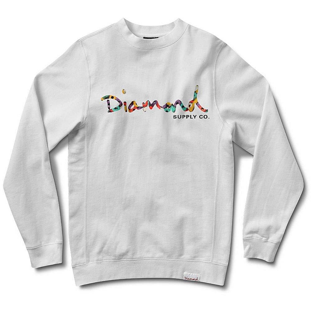 Diamond Supply Co Mens Script Fasten Crewneck Sweatshirt White, Medium