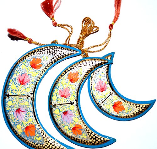 Decorative Hanging Ornaments (Set of three Moons ). 100% Handmade and Hand painted Paper Mache product from the Artisans of Kashmir-India. Size: 12cm, 10cm & 8 -