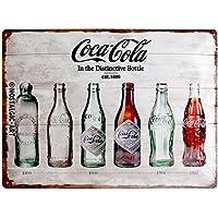 Nostalgic-Art Coca Cola Bottle Timeline Placa Decorativa, Metal, Ocres, 30 x 40 cm