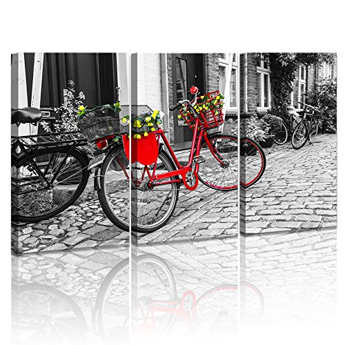 LevvArts 3 Panel Black and White Red Bicycle on Cobblestone Street Vintage Wall Art Denmark Old Town Pictures Canvas Art Stretched and Framed for Home Decor (Coastal Wall Art View)