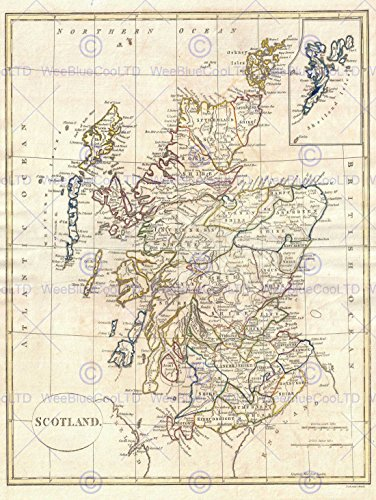 1799 CLEMENT CRUTTWELL MAP SCOTLAND VINTAGE POSTER ART PRINT 12x16 inch 30x40cm 2882PY (Print Scotland Vintage)
