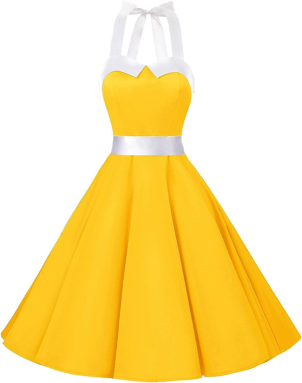 TALLA S. Dressystar Vestidos Corto Cuello Halter Estampado Flores y Lunares Vintage Retro Fiesta 50s 60s Rockabilly Mujer Solid Yellow