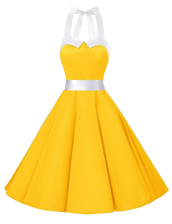 TALLA XL. Dressystar Vestidos Corto Cuello Halter Estampado Flores y Lunares Vintage Retro Fiesta 50s 60s Rockabilly Mujer Solid Yellow XL