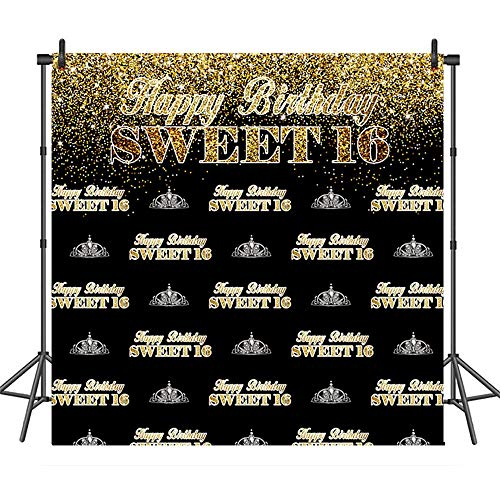 COMOPHOTO Sweet 16th Backdrop for Birthday Party Banner 8x8ft Photography Gold Black Step and Repeat Sweet Sixteen Photobooth Background Decorations ()