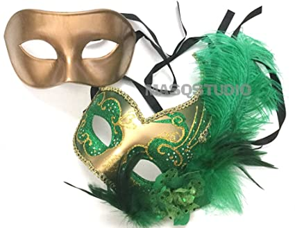 Black Gold Feather Jolly Jester Mardi Gras Party Masquerade ball mask Pair