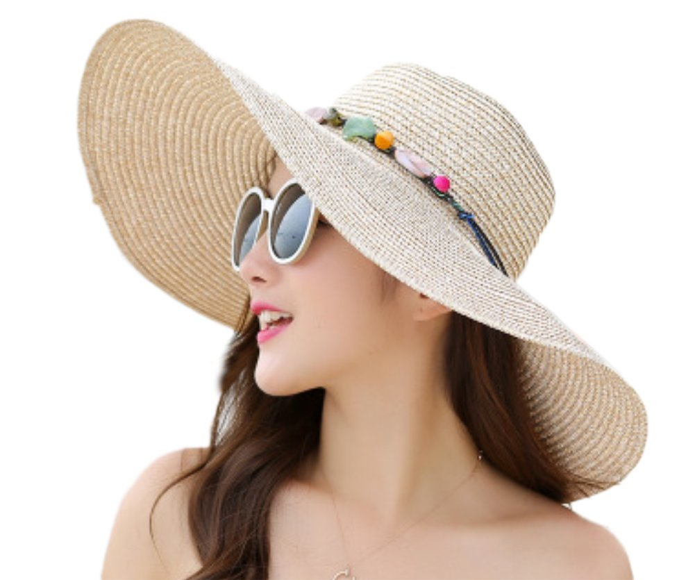fablcrew sombreros gorra de paja Jazz Sombrero Color sólido gorra de ala ancha plegable playa para v...