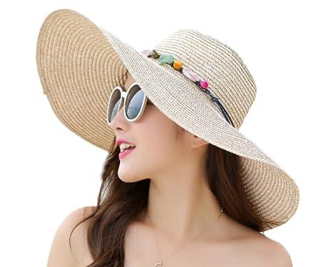 1e1086dea56 Monbedos Women Outdoor Beach Hat Sun Straw Hat Foldable Wide Brim Floppy Hat  Outdoor Gift  Amazon.co.uk  Kitchen   Home