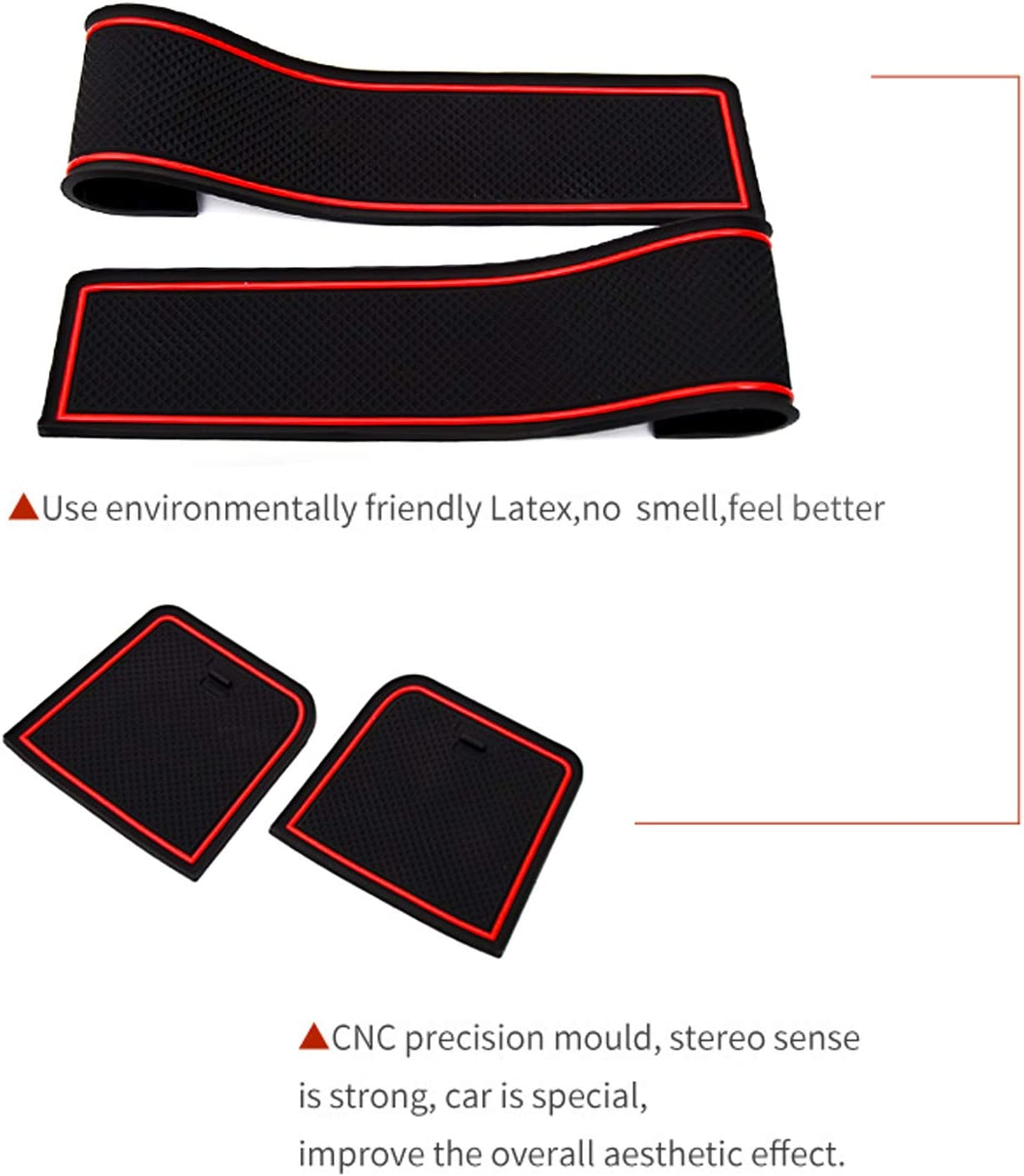CRV Interior Accessories,Door and Center Console Groove Pad Mats for Honda CRV 2017 2018 2019 2020 Red Left-Hand Drive