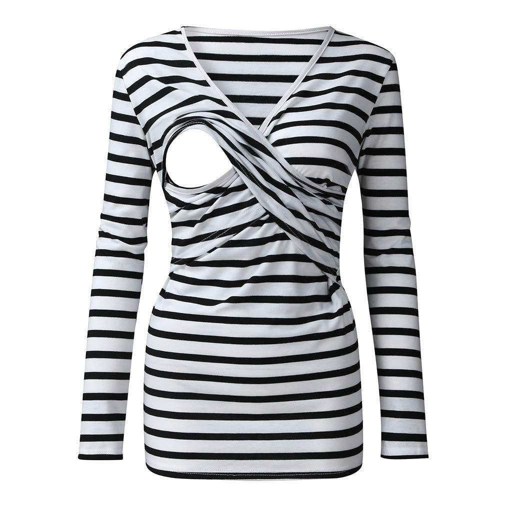 Mitlfuny Blusa Embarazada para Premam/á,Camiseta de Maternidad Divertido Estampada de Manga Se/ñoras de Las Mujeres Embarazadas Lactancia Materna Raya Blusa de Manga Larga Tops Camisa