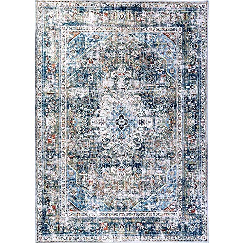 Decomall Traditional Vintage Bohemian Distressed Abstract Area Rug for Living Room Bedroom, Green Multicolor, 4'x6'