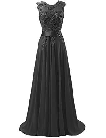 Cdress Chiffon Long Prom Dresses Lace Applique Bridesmaid Dress Evening Formal Gowns Black US 2