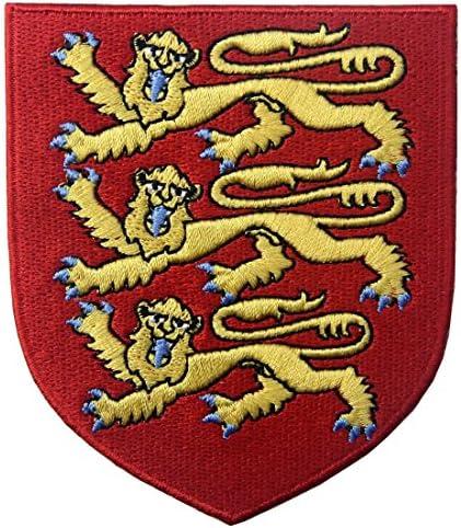 イングランドロイヤルコートブリティッシュライオンシールド刺繍入りアイロン貼り付け/縫い付けワッペン
