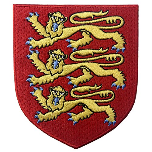 England Royal Coat of Arms Embroidered Emblem British Lion Shield Iron On Sew On (British Royal Seal)
