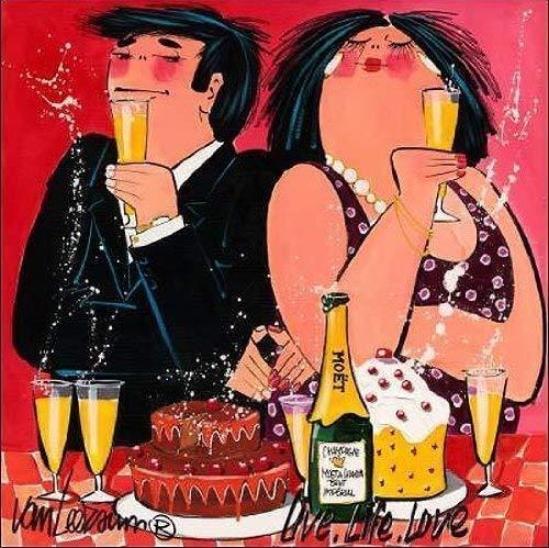 Love 50 x 50 cm Party Paar Bar Feiern Drinks Life Keilrahmen-Bild El van Leersum: Live
