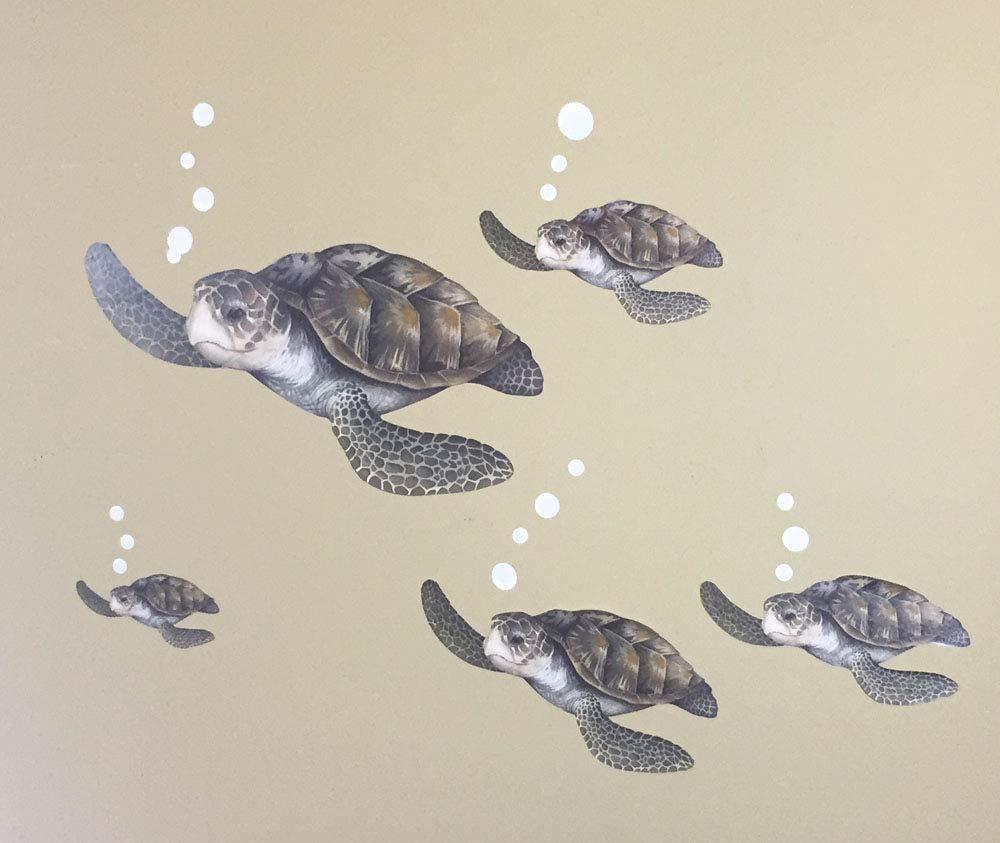 Create-A-Mural : Sea Turtle Family Decals ~Ocean Vinyl Tortoise Underwater Wall Sticker Decor