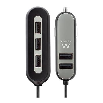 Ewent Cargador de Coche 54W 10.8A 5 USB, 2 USB para Usar en ...